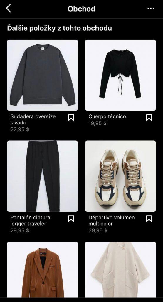 Facebook shopping na instagrame - viac produktov